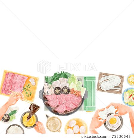 壽喜燒派對餐風景水彩風格插畫 75530642