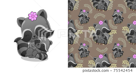 The pattern of kind raccoon is sitting on grass while carrying a baby 75542454