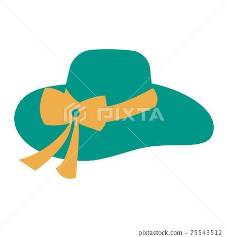 Green summer hat icon Flat illustration on white background 75543512
