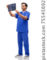 happy indian doctor or male nurse with x-ray 75545692