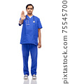 indian doctor or male nurse showing stop gesture 75545700
