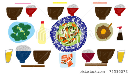 Illustration of the usual dining table for a family of five 75556078