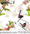 Birds on berry branch seamless pattern on white background 75559076