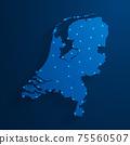 Simple blue Netherlands map technology background, vector, illustration, eps 10 file 75560507