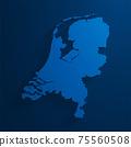 Simple blue Netherlands map background, vector, illustration, eps 10 file 75560508