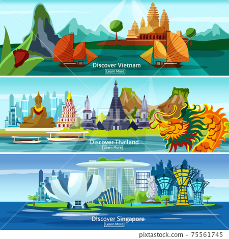 Asian travel banners 75561745