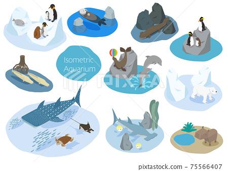 水族館裡可愛的海洋生物的等距插圖 75566407