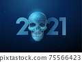 Abstract blue scull and number 2021 New Year greeting card 75566423