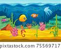 Sea underwater fishes, cartoon aquarium background 75569717