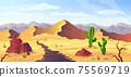 Desert background Arizona cactus prairie landscape 75569719