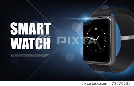 Realistic Smart Watch Horizontal Banner 75570186