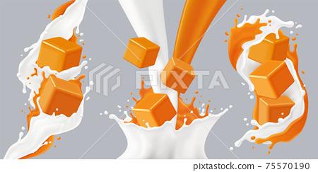 Realistic Splashes Caramel Icon Set 75570190