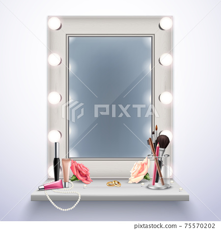 Makeup Mirror Realistic Composition 75570202