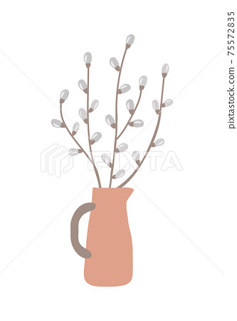 Cute hand draw gray white pussy willow twigs in ceramic vase isolated on white background, EPS 10 vector design element for easter and spring greeting card 75572835