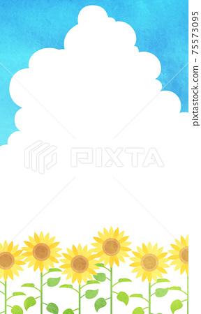 夏季入口雲,藍天和向日葵水彩風格矢量圖背景(副本空間) 75573095