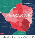 Zimbabwe country detailed editable map 75573835