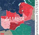 Zambia country detailed editable map 75573837
