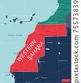Western Sahara detailed editable map 75573839