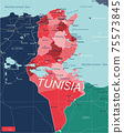 Tunisia country detailed editable map 75573845