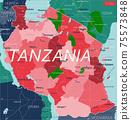 Tanzania country detailed editable map 75573848