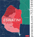 Eswatini ex Swaziland country detailed editable map 75573849