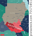 South Sudan country detailed editable map 75573851