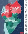 Rwanda and Burundi country detailed editable map 75573854