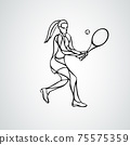 Tennis player female stylized outline vector silhouette 75575359