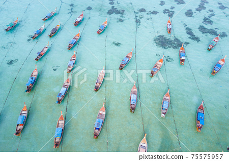 Aerial view of long tail boats in Andaman sea at Lipe Island 75575957
