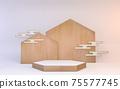 hexagon podium wooden design on white background minimal design. 3D rendering 75577745