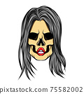 The hand drawn of the girl skull with the straight long hair 75582002