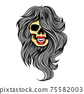 The hand drawn of the women skull with the curly hair models 75582003