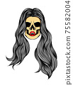 The glossy coloured art work of the girl skull with the lovely long hair 75582004
