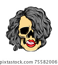 The sexy girl skull licking the lips with the curly hair 75582006
