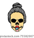 The women dead skull with a piece a cake and scruffy to knot hair 75582007