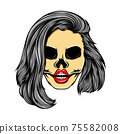 The glossy coloured women skull with the stacked bob hair mode 75582008
