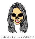The art work of the tattoo inspiration of women skull with the wavy long hair 75582011