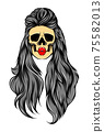 The hand drawn of the dead woman skull with the long hair 75582013