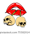 The glossy lips biting the dead human skull for the tattoo 75582014