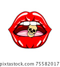 The hand drawn of the sexy lips biting the head skull 75582017