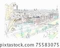 鳥瞰世界遺產城市景觀,法國,巴黎,巴黎圣母院,從屋頂 75583075