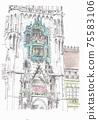 歐洲城市景觀,在德國慕尼黑的鐘塔 75583106