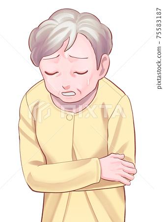 복통 수석 여성 (아줌마)의 일러스트 75583187