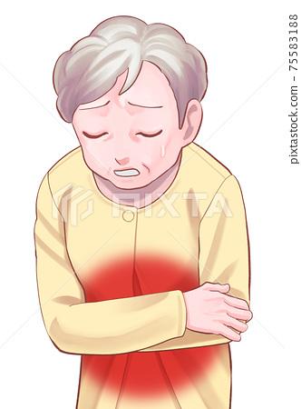 복통 수석 여성 (아줌마)의 일러스트 75583188