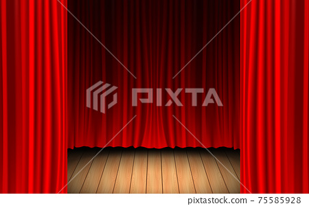 red curtain and light of spotlight on the wooden floor in the dark room 75585928