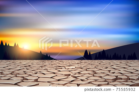 landscape of dry soil in the river in the morning 75585932