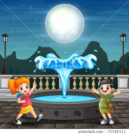 Illustration of kids playing around the fountain 75586311