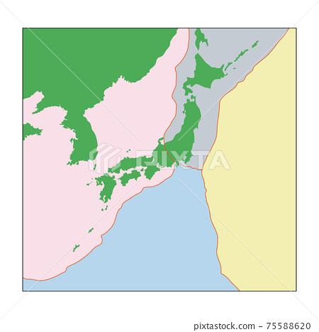 Illustration showing the plates around the Japanese archipelago 75588620