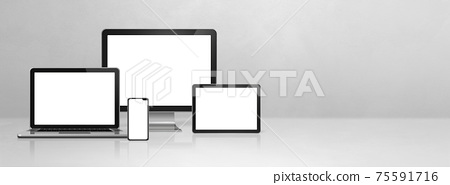 computer, laptop, mobile phone and digital tablet pc. white concrete banner 75591716