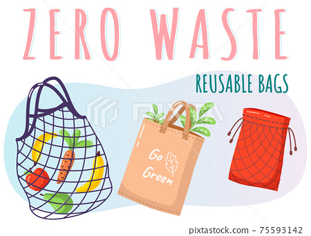 Eco-friendly reusable bag set with products. Zero waste collection. Ecological concept, no plastic 75593142